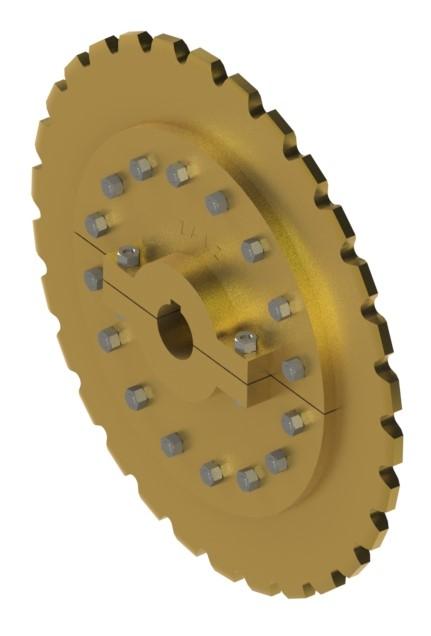 Engrenagem bi-partida com furo aparafusado se acordo com a necessidade.